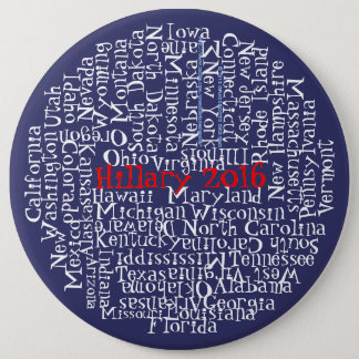 Red, White, Blue, Hillary Clinton 2016 50 States 1 6 Inch Round Button