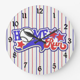 Red White & Blue Home Run Baseball Striped Clock