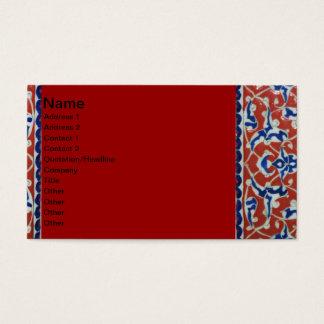 Red, white, blue Iznik pottery Tile Ottoman Empire Business Card