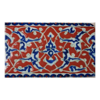 Red, white, blue Iznik Turkish Tile Ottoman Era Poster