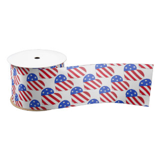 Red White Blue July 4th Patriotic USA Flag Heart Satin Ribbon