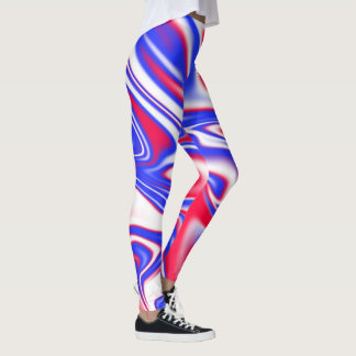 Red White Blue Liquefied Marble Pattern, Leggings