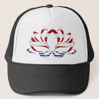 Red White & Blue Lotus Flower Trucker Hat