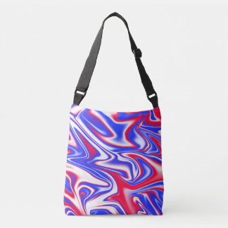 Red White Blue Marbleized Pattern, Crossbody Bag