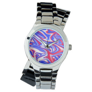 Red White Blue Marbleized Pattern, Watch