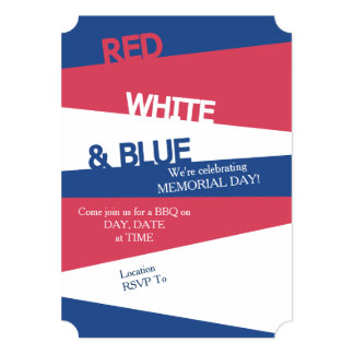 Red White & Blue Memorial Day Party Invitations