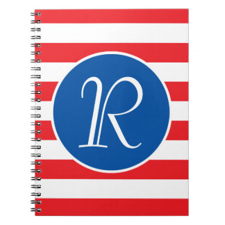 Red White & Blue Monogram Notebook