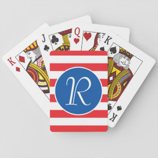 Red White & Blue Monogram Playing Cards