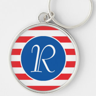 Red White & Blue Monogram Silver-Colored Round Keychain