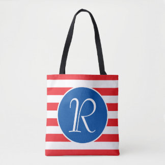 Red White & Blue Monogram Tote Bag