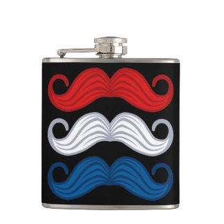 Red White Blue Mustaches Flask