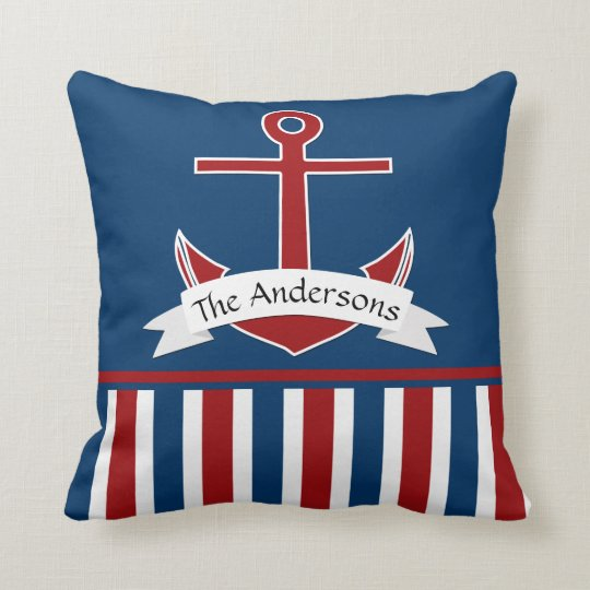 Red White Blue Nautical Design Personalized Anchor Throw Pillow