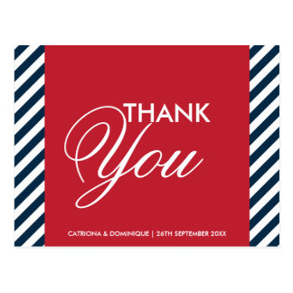 Red White Blue Nautical Stripes Thank You Postcard