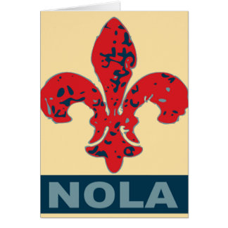 Red White Blue NOLa Fleur De Lis Card