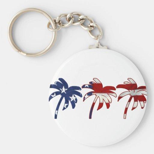 Red White Blue Palm Tree Key Chain