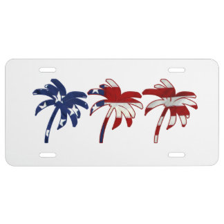 Red White Blue Palm Trees License Plate