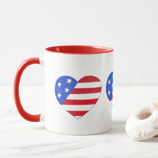 Red White Blue Patriotic American Flag Heart USA Mug
