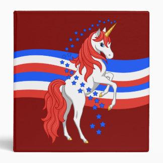 Red White Blue Patriotic American Unicorn 3 Ring Binders
