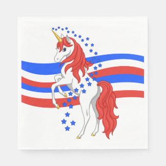 Red White Blue Patriotic American Unicorn Disposable Napkins
