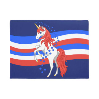 Red White Blue Patriotic American Unicorn Doormat