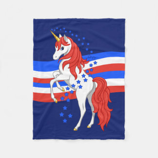 Red White Blue Patriotic American Unicorn Fleece Blanket