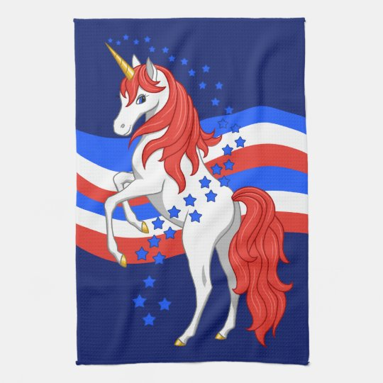 Red White Blue Patriotic American Unicorn Kitchen Towel