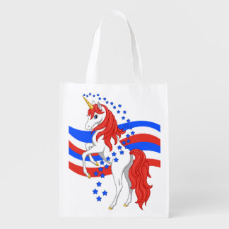 Red White Blue Patriotic American Unicorn Reusable Grocery Bag