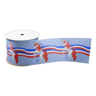 Red White Blue Patriotic American Unicorn Satin Ribbon