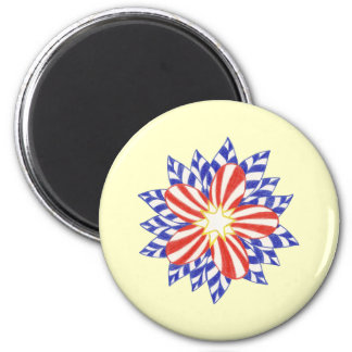 Red White Blue Patriotic Flower Magnets