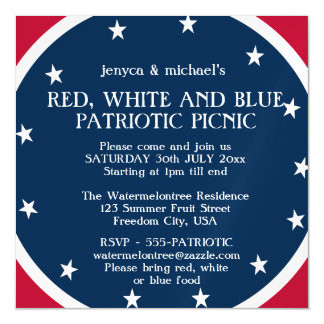 Red White & Blue Patriotic Picnic Magnetic Invite Magnetic Invitations
