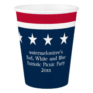 Red White Blue Patriotic Picnic Party Paper Cup