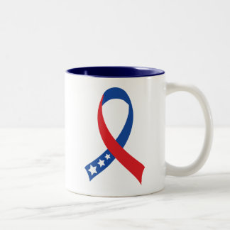 Red White Blue Patriotic Ribbon Tshirt Gift Mugs