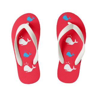 Red White & Blue Patriotic Whales 4Lee Kid's Flip Flops
