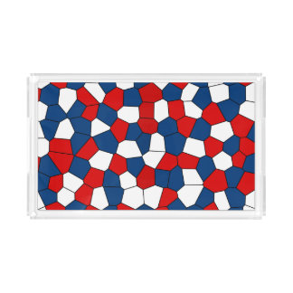 Red White Blue Pattern Acrylic Tray