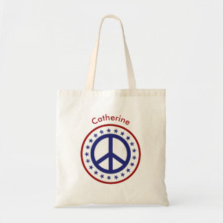 Red White Blue Peace Sign and Stars Personalized