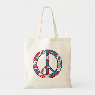 Red, White & Blue Peace Sign Budget Tote Bag