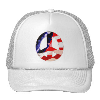 Red White & Blue Peace Sign cap Mesh Hats