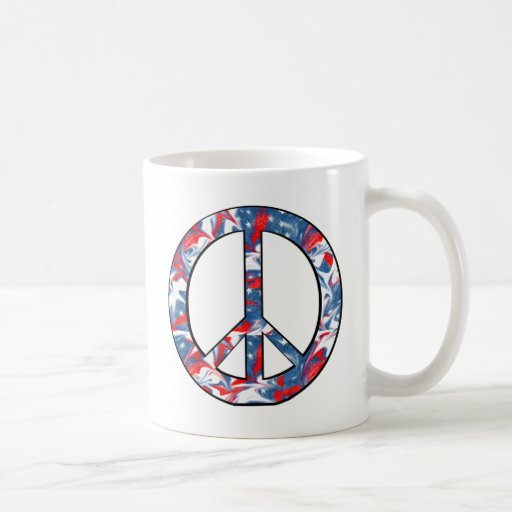 Red, White & Blue Peace Sign Coffee Mugs