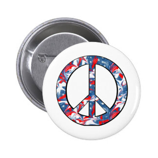 Red, White & Blue Peace Sign Round 2 Inch Round Button