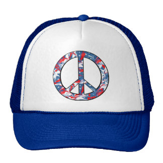 Red, White & Blue Peace Sign Trucker Hat