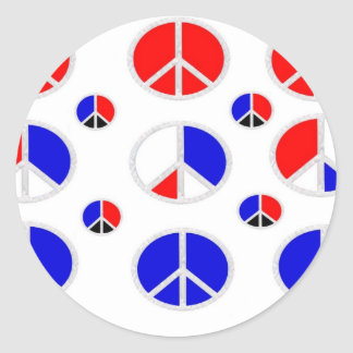red white blue peace signs classic round sticker