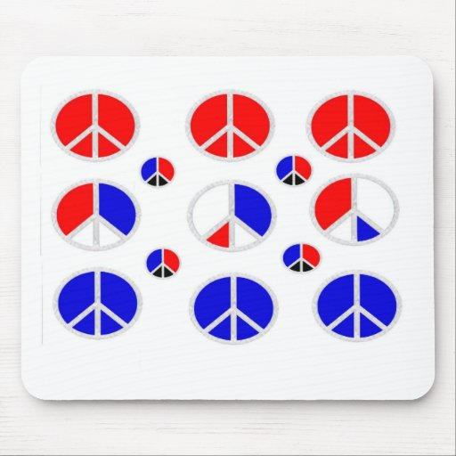red white blue peace signs mouse mat