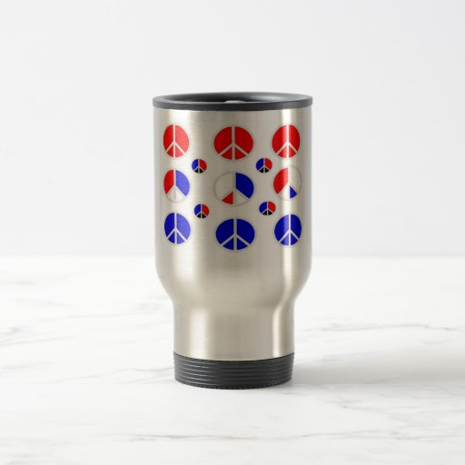 red white blue peace signs coffee mugs