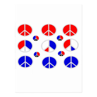 red white blue peace signs postcard