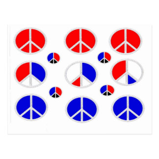red white blue peace signs post cards