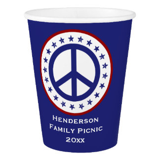 Red White Blue Peace Symbol Personalized Paper Cup