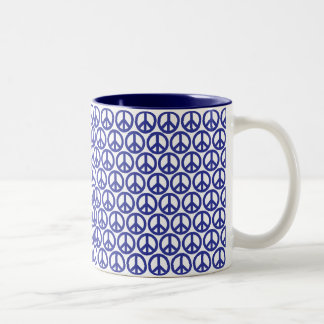 Red White & Blue Peace Two-Tone Coffee Mug