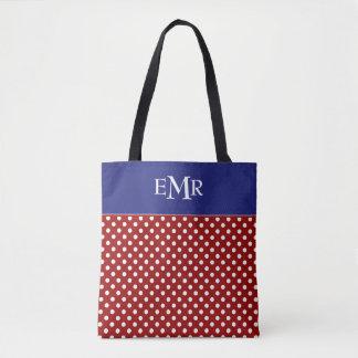Red White Blue Polka Dot Monogram Tote Bag