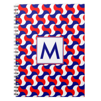 RED WHITE & BLUE RERO PRINT with MONOGRAM Notebook
