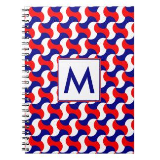 RED WHITE & BLUE RERO PRINT with MONOGRAM Notebooks